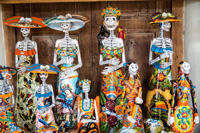 Ceramic skeletons in honor of the Day of the Dead festival
