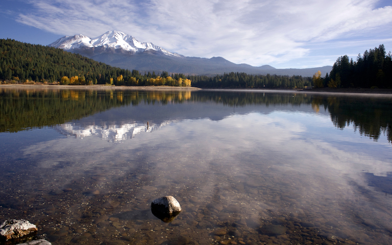 Mount Shasta reflected in her lake with the same name