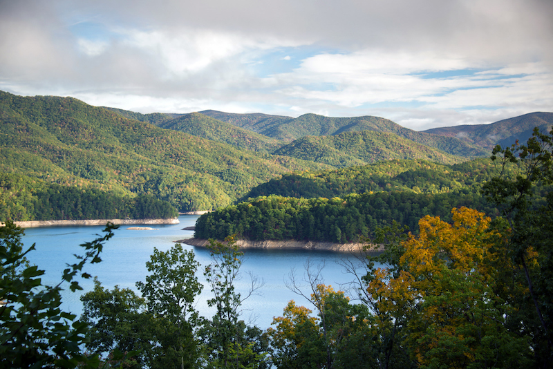 Overlooking the vast mountainous region around Fontana Lake near Bryson City, North Carolina