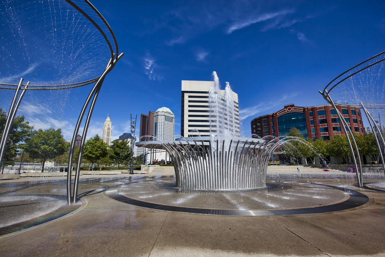 The fountains in Bicentennial Park in downtown Columbus, OH.