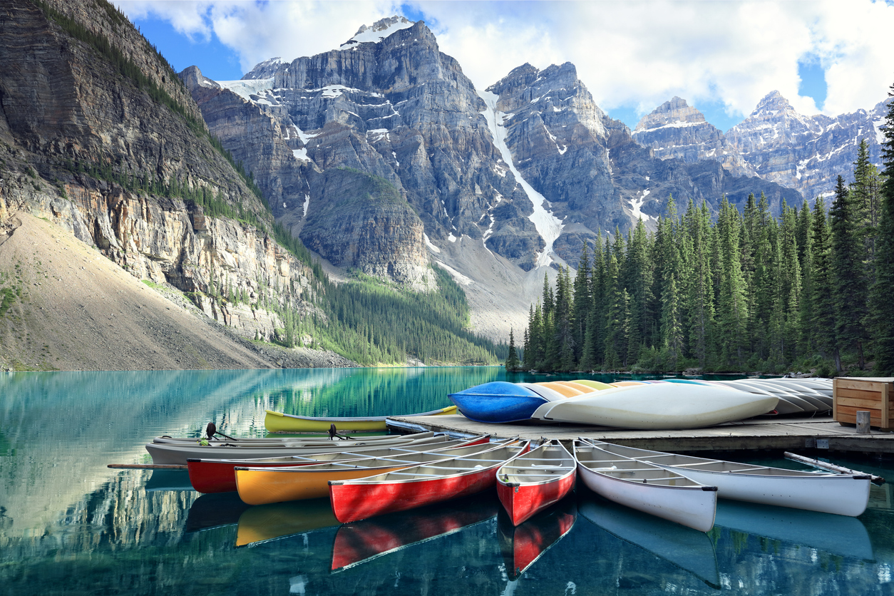 Moraine lake in the Rocky Mountains, Alberta, Canada