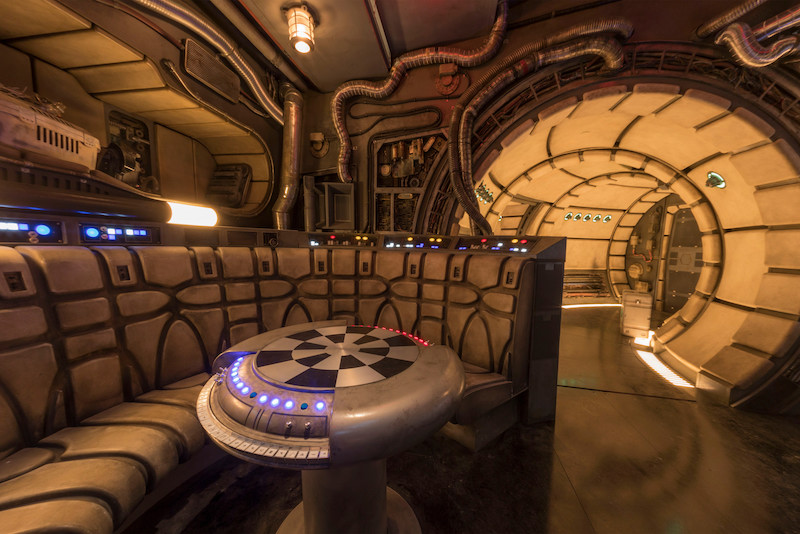 "The famous ""chess room"" inside Millennium Falcon: Smugglers Run at Star Wars: Galaxy's Edge 