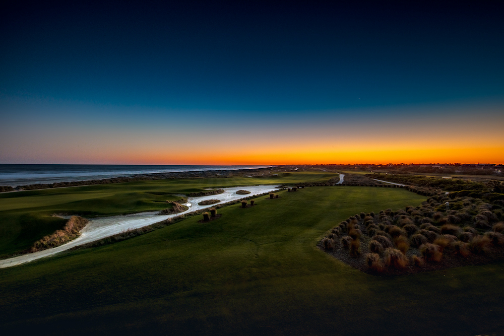 Sunset from the deck of the Ryder Cup bar at Kiawah Island, South Carolina overlooking the 18th green
