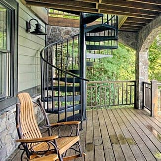 aluminum spiral stair lake house