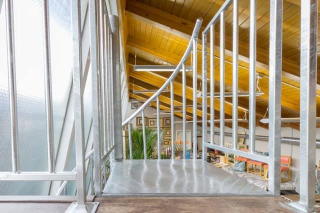 galvanized loft stair platform