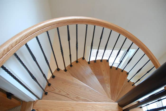 steel spiral staircase with twist balusters