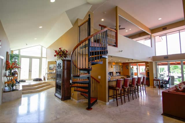 kitchen loft with spiral staircase