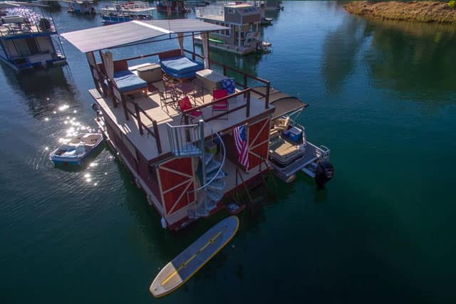house boat with a spiral staircase