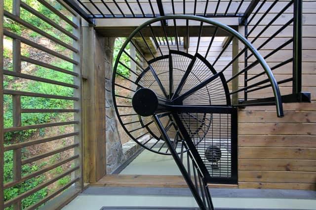 open grate aluminum spiral stair