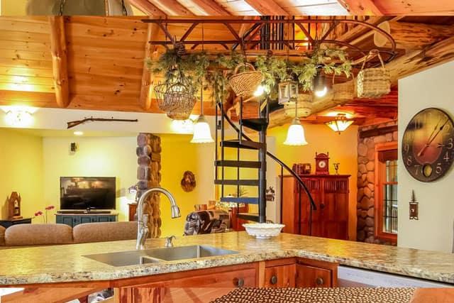 open design kitchen spiral stair