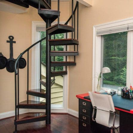 open frame traditional spiral staircase