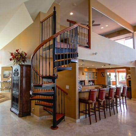 kitchen forged iron spiral staircase