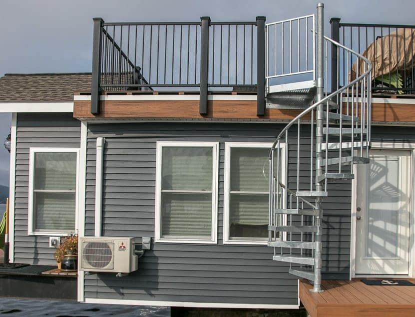 boat house galvanized spiral stair