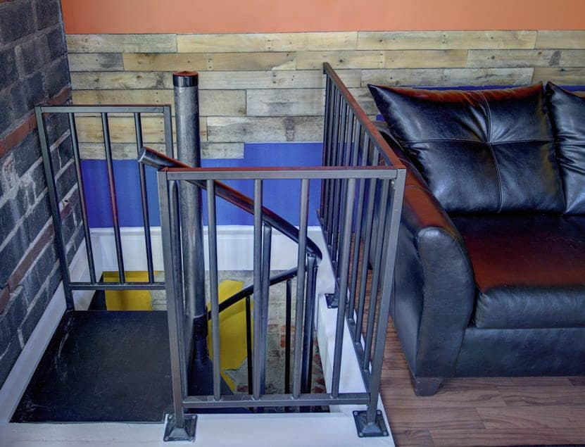 spiral stair to loft living room