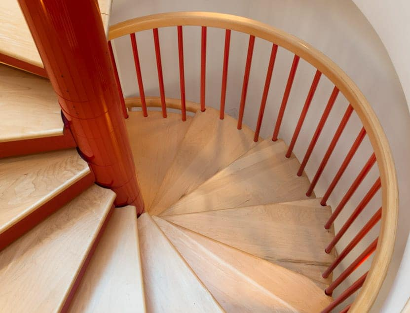 powder coat steel stair with wood treads