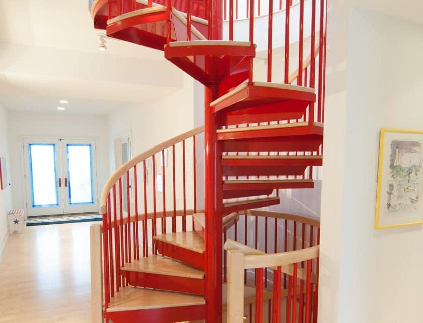 custom color steel spiral stair