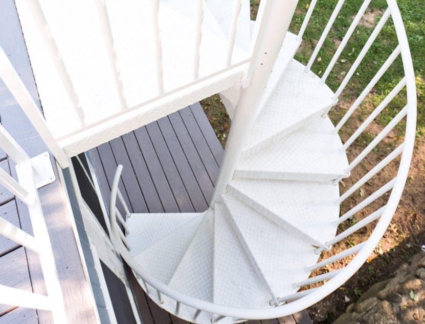 white powder coated spiral stair