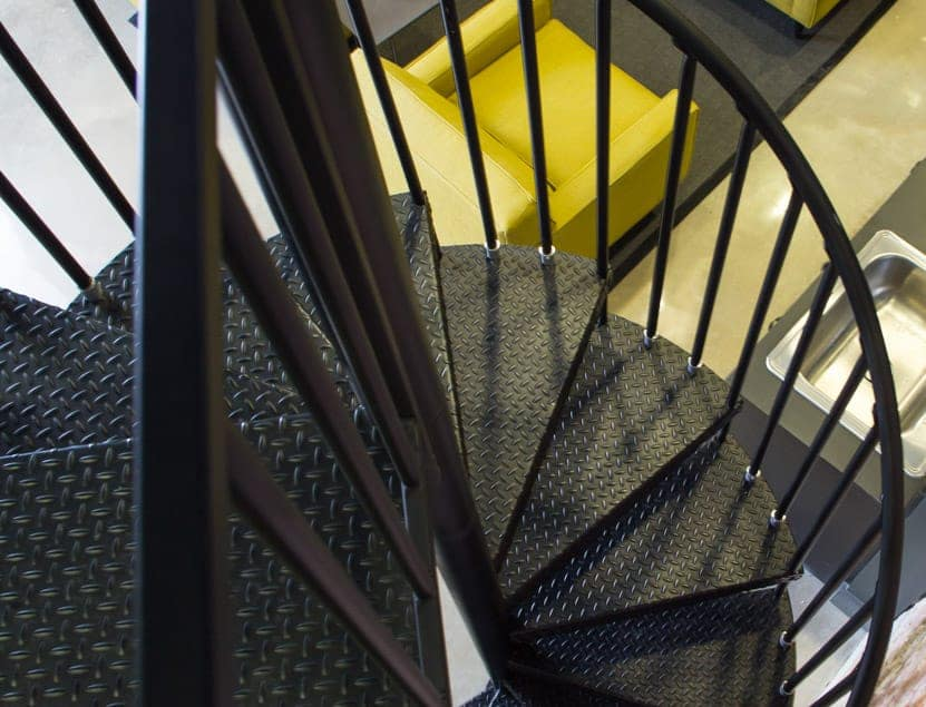 industrial office spiral staircase