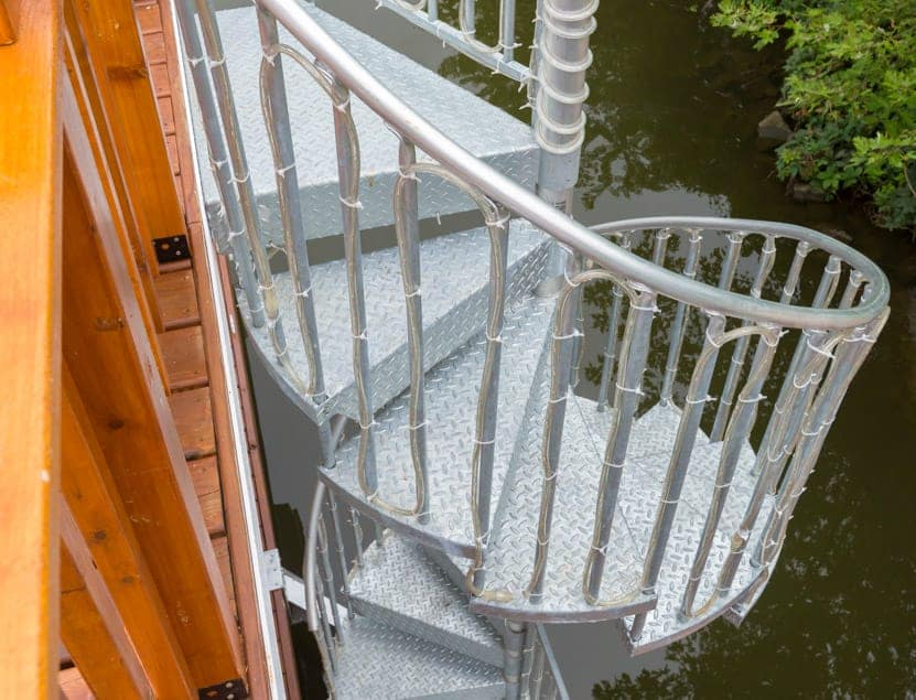 galvanized spiral stair with lights