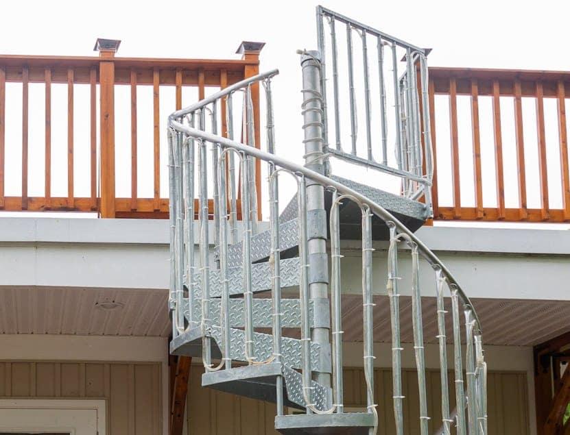 galvanized spiral stair to rooftop deck