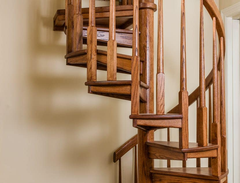 Half Turn Wood Staircase Detail Shot