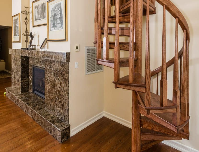 All Wood Half Turn Spiral Staircase
