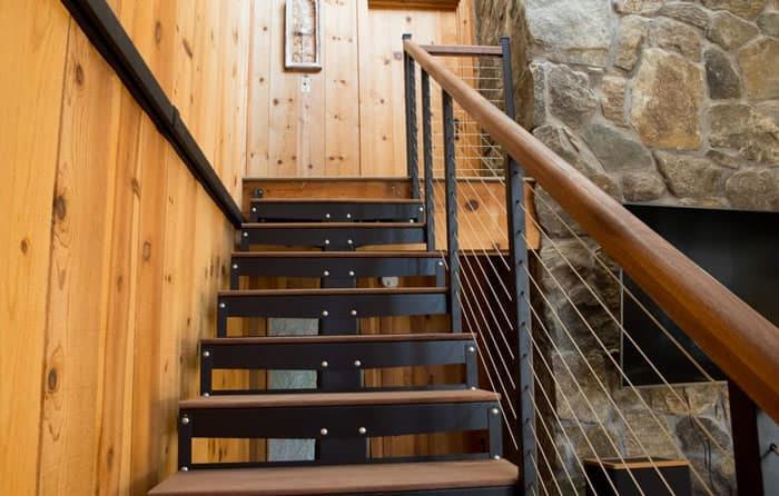 modular kit staircase with wood treads