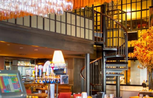 contemporary restaurant spiral stair
