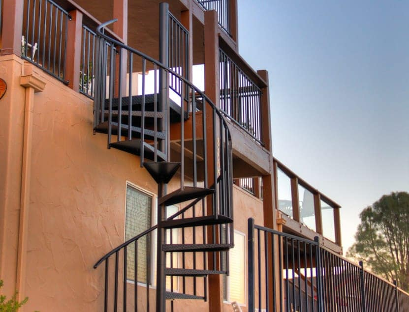 balcony to patio aluminum spiral stair