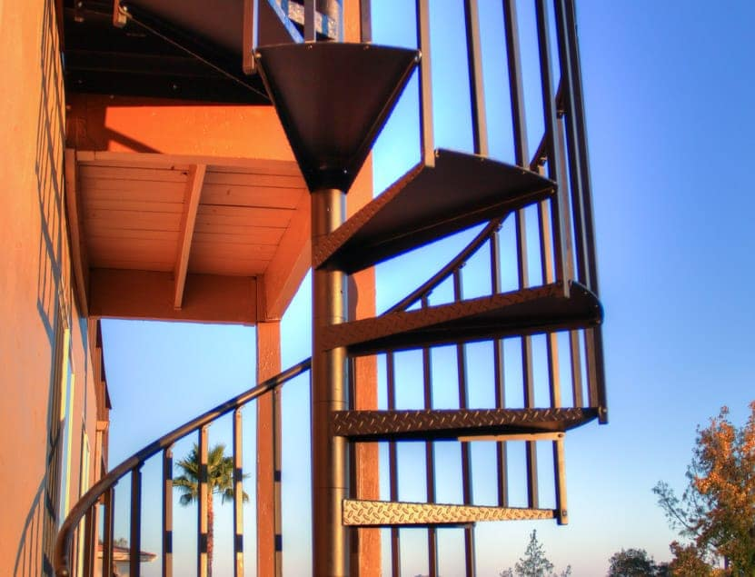 outdoor spiral staircase to balcony