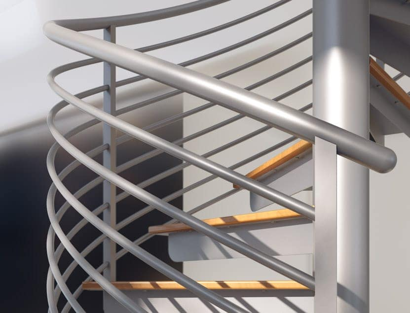 stainless steel line rail on spiral staircase