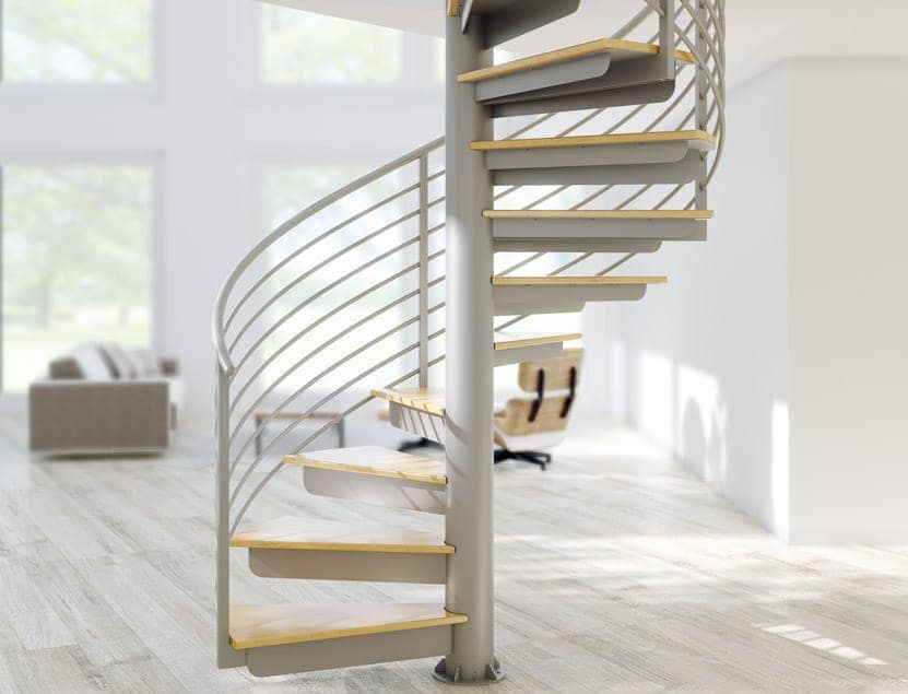 steel spiral stair in a modern living room