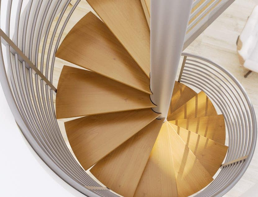 steel spiral stair with pine treads