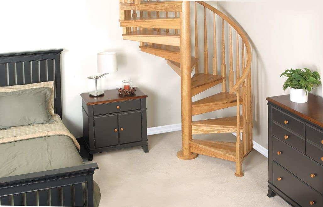 code compliant solid wood spiral staircase