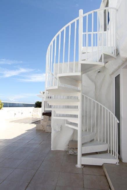 stylish white powder coated spiral staircase