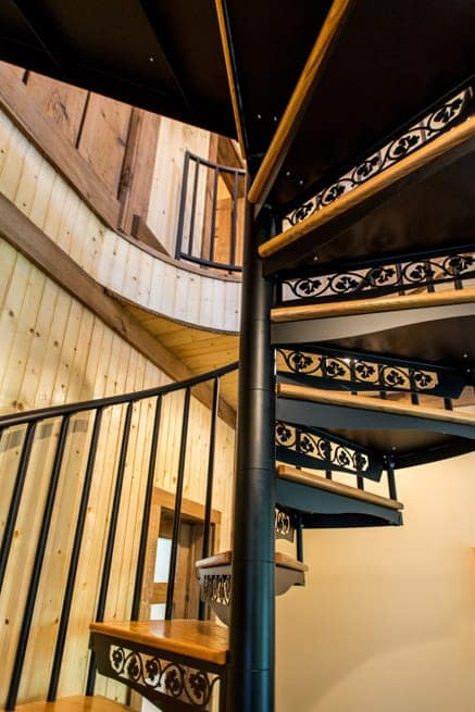 residential finished basement spiral staircase