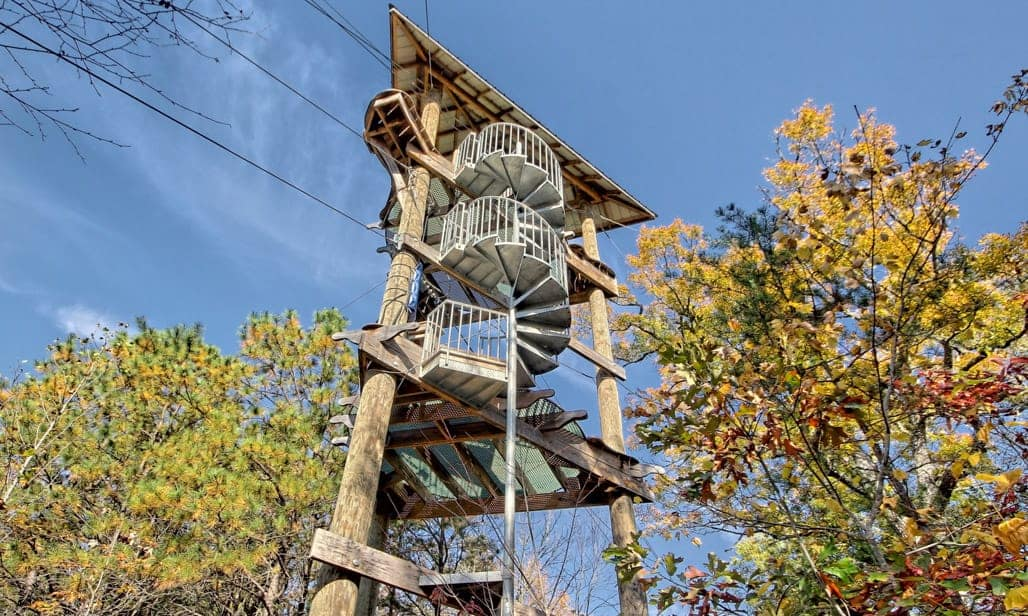 nantahala zip line spiral staircase