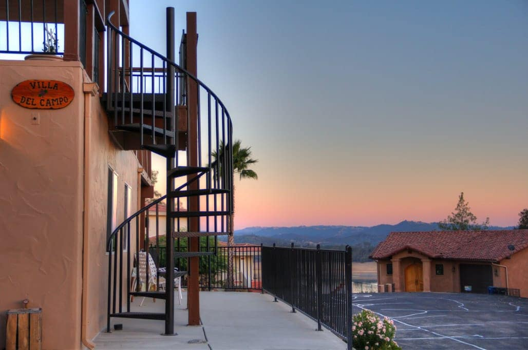 california balcony with spiral stair