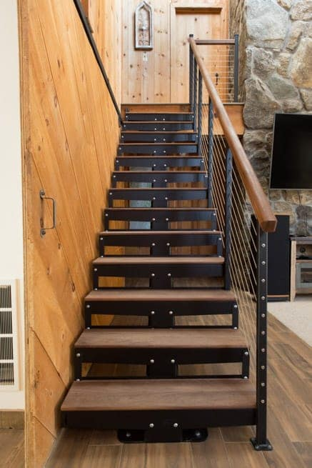 simple steel staircase with wood steps