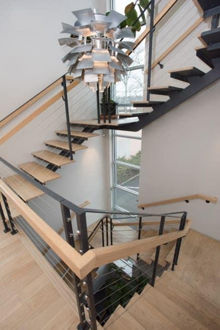 steel and wood multi floor floating staircase