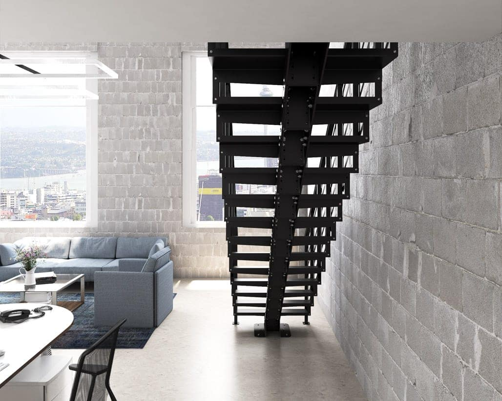 all metal floating staircase
