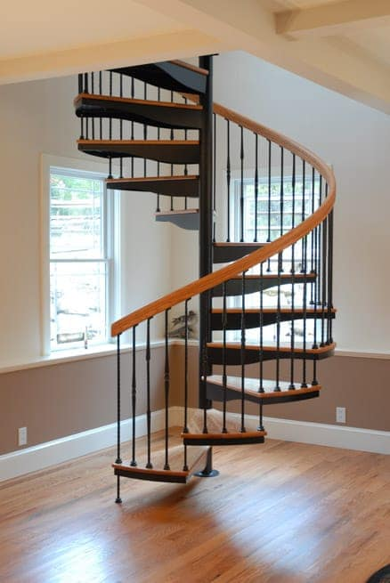 spiral staircase in the dining room