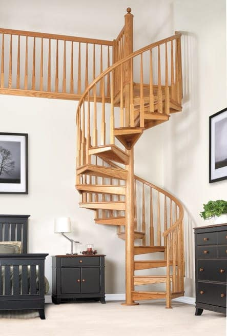solid wood spiral stair with railing