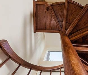 hand crafted solid wood spiral stair