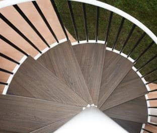 deck spiral stair with trex treads