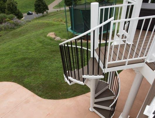 deck spiral staircase with landing platform