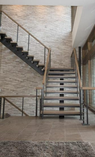 metal floating stair with wood accents