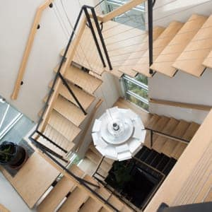 floating staircase with cable railing