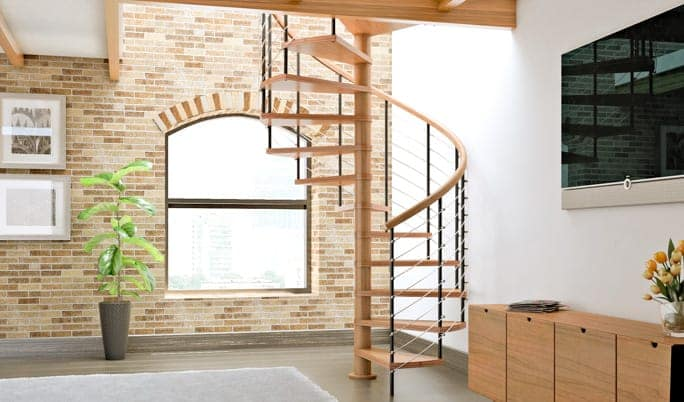 contemporary wood spiral staircase