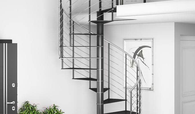 metal stair with stainless steel line rail